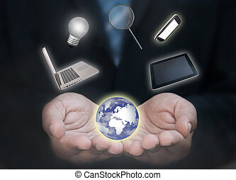 uomo, tecnologia, affari mondo