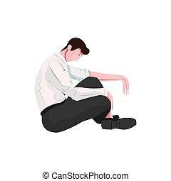 uomo, triste, illustrazione