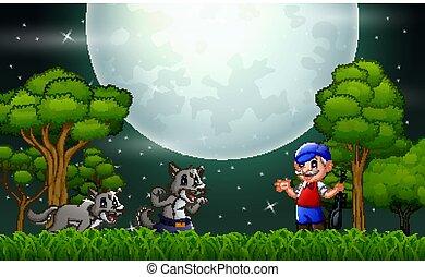 uomo, vecchio, foresta, wolfs, notte