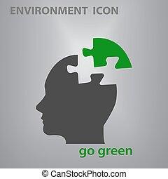 uomo, verde, silhouette, icona, andare, vettore, testa