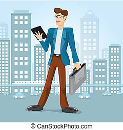 uomo, vettore, affari città