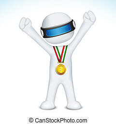 uomo, vettore, medaglia, oro, 3d