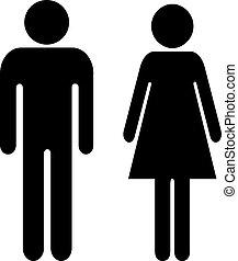 uomo, vettore, segno, donna
