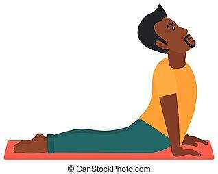 uomo, yoga., attivo