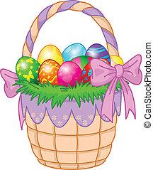 uova, pasqua, colorito, cesto