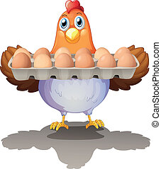 uova, vassoio, gallina, presa a terra