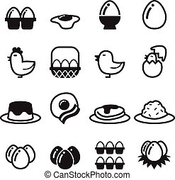 uovo, vettore, set, icone
