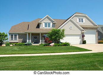 upscale, americano, casa, residenziale