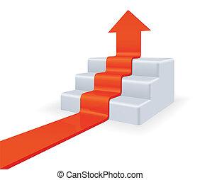 upstairs., concetto, crescita, freccia
