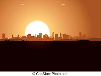 urbano, alba, paesaggio