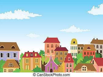 urbano, cartone animato, scena