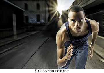 urbano, giovane, correndo, regolazione, maschio nero