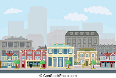 urbano, scena via, far male, case urbane