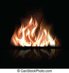 urente, fuoco, illustrazione, vettore, sfondo nero