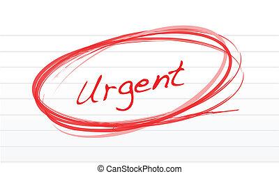 urgente, circondato, rosso, inchiostro, bianco