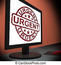 urgente, esposizione, monitor, giunco