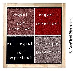 urgente, importante, matrice, lavagna