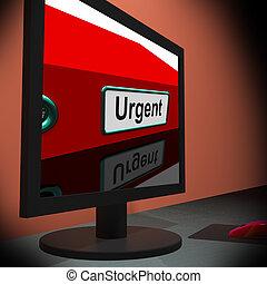 urgente, mostra, monitor, immediato, risposta