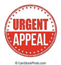urgente, o, segno, francobollo, appello