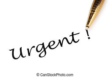 urgente, penna, bianco, messaggio, isolato