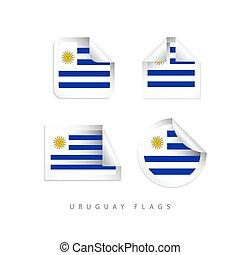 uruguay, illustrazione, etichetta, vettore, disegno, sagoma, bandiere