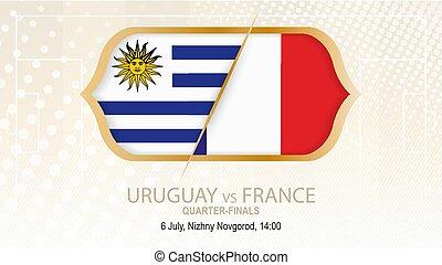 uruguay, nizhny, football, concorrenza, francia, vs, novgorod., quarter-finals.