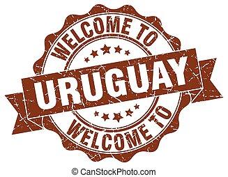 uruguay, rotondo, nastro, sigillo