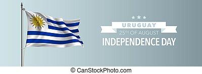 uruguay, scheda, augurio, illustrazione, vettore, bandiera, giorno, indipendenza, felice