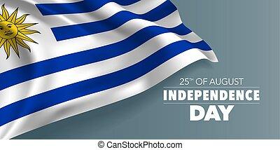 uruguay, testo, scheda, augurio, illustrazione, vettore, sagoma, bandiera, giorno, indipendenza, felice