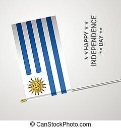 uruguay, tipografico, bandiera, vettore, disegno, giorno, indipendenza