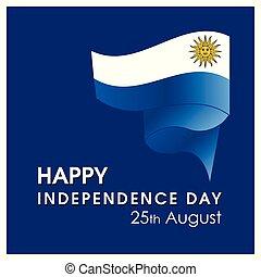 uruguay, vettore, disegno, giorno indipendenza, scheda