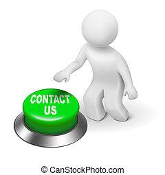 "us"", ""contact, carattere, urgente, umano, bottone, 3d"