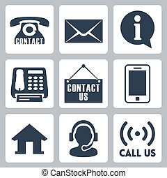 us', 'contact, vettore, set, icone