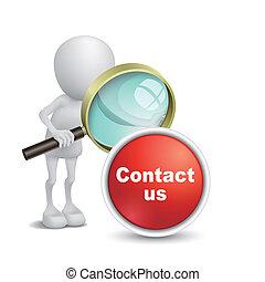 """us"""", persona, """"contact, osservare, vetro, bottone, ingrandendo, 3d"""