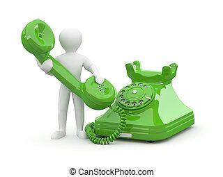 us., uomini, telefono., 3d, contatto