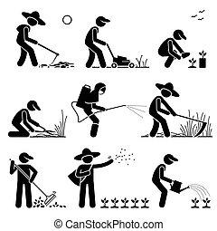 usando, attrezzi, giardiniere, contadino