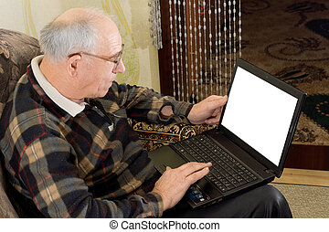 usando computer portatile, computer, uomo senior