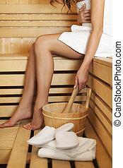 usando, donna, accessori, rilassante, sauna