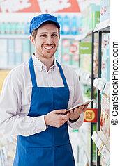 usando, impiegato, supermercato, tavoletta