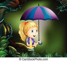 usando, ragazza, ombrello, foresta
