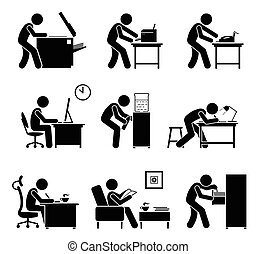 usando, ufficio, workplace., equipments, personale