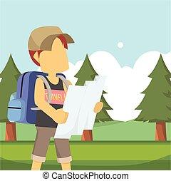 usando, viaggiatore, foresta, mappa