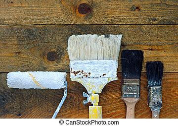 usato, vecchio, legno, pennelli, tavola, rullo