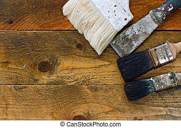 usato, vecchio, legno, raschietto, pennelli, tavola