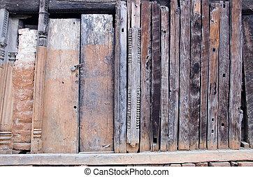 usato, vecchio, legno, serratura, parete, porta