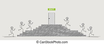 uscita, correndo, porta, persone