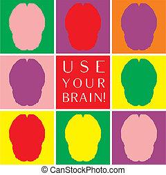 uso, colorito, cervello, vettore, tuo, icona