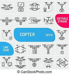 uso, fuco, icons., copter, vettore, universale, web, linea, set, illustration., applications., mobile, lattina, volare