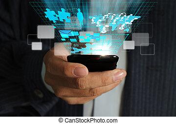 uso, rete, telefono affari, mobile, virtuale, mano, diagramma, flusso continuo, processo, uomo