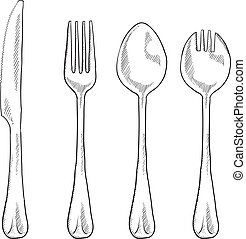 utensili, mangiare, schizzo